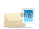 Physical letter and stamp icon